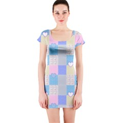 Patchwork Short Sleeve Bodycon Dress by Valentinaart
