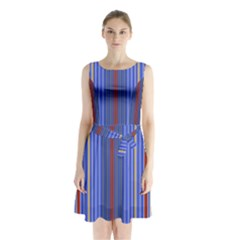 Colorful Stripes Background Sleeveless Chiffon Waist Tie Dress by Amaryn4rt