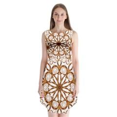 Golden Filigree Flake On White Sleeveless Chiffon Dress   by Amaryn4rt