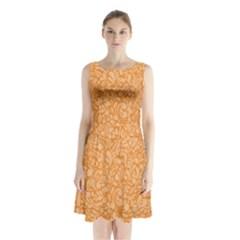Orange Pattern Sleeveless Chiffon Waist Tie Dress by Valentinaart