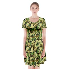 Camo Woodland Short Sleeve V-neck Flare Dress