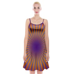 Retro Circle Lines Rays Orange Spaghetti Strap Velvet Dress by Amaryn4rt
