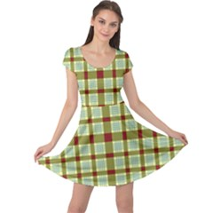 Geometric Tartan Pattern Square Cap Sleeve Dresses by Amaryn4rt