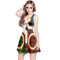 Bike Neon Colors Graphic Bright Bicycle Light Purple Orange Gold Green Blue Reversible Sleeveless Dress by Alisyart