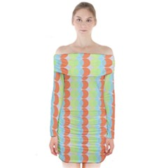 Circles Orange Blue Green Yellow Long Sleeve Off Shoulder Dress by Alisyart