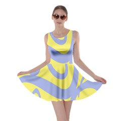Doodle Shapes Large Waves Grey Yellow Chevron Skater Dress