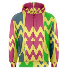 Easter Egg Shapes Large Wave Green Pink Blue Yellow Men s Zipper Hoodie by Alisyart