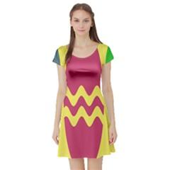 Easter Egg Shapes Large Wave Green Pink Blue Yellow Short Sleeve Skater Dress