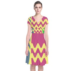Easter Egg Shapes Large Wave Green Pink Blue Yellow Short Sleeve Front Wrap Dress
