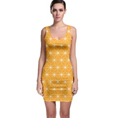 Yellow Stars Light White Orange Sleeveless Bodycon Dress by Alisyart