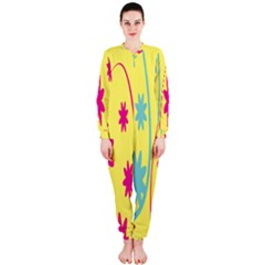 Easter Egg Shapes Large Wave Green Pink Blue Yellow Black Floral Star Onepiece Jumpsuit (ladies)  by Alisyart