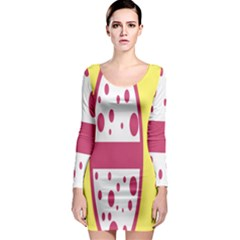 Easter Egg Shapes Large Wave Pink Yellow Circle Dalmation Long Sleeve Bodycon Dress
