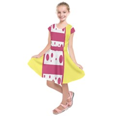 Easter Egg Shapes Large Wave Pink Yellow Circle Dalmation Kids  Short Sleeve Dress by Alisyart