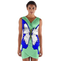 Draw Butterfly Green Blue White Fly Animals Wrap Front Bodycon Dress by Alisyart