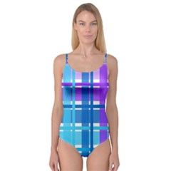 Gingham Pattern Blue Purple Shades Sheath Camisole Leotard  by Alisyart
