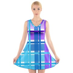Gingham Pattern Blue Purple Shades Sheath V Neck Sleeveless Skater Dress by Alisyart