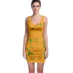 Nature Leaf Green Orange Sleeveless Bodycon Dress
