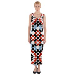 Oriental Star Plaid Triangle Red Black Blue White Fitted Maxi Dress by Alisyart