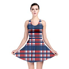 Plaid Red White Blue Reversible Skater Dress by Alisyart
