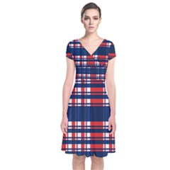 Plaid Red White Blue Short Sleeve Front Wrap Dress by Alisyart