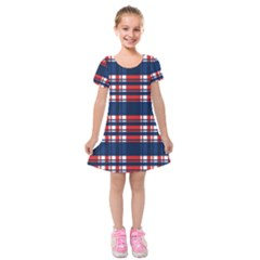 Plaid Red White Blue Kids  Short Sleeve Velvet Dress by Alisyart