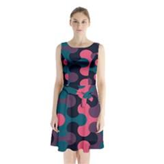 Symmetry Celtic Knots Contemporary Fabric Puzzel Sleeveless Chiffon Waist Tie Dress by Alisyart