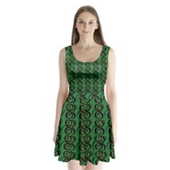 Abstract Pattern Graphic Lines Split Back Mini Dress  by Amaryn4rt