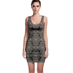 Line Geometry Pattern Geometric Sleeveless Bodycon Dress