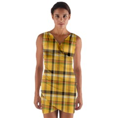 Plaid Yellow Line Wrap Front Bodycon Dress by Alisyart