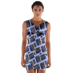 Abstract Pattern Seamless Artwork Wrap Front Bodycon Dress by Amaryn4rt
