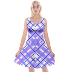 Geometric Plaid Pale Purple Blue Reversible Velvet Sleeveless Dress by Amaryn4rt
