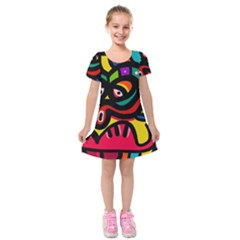 A Seamless Crazy Face Doodle Pattern Kids  Short Sleeve Velvet Dress by Amaryn4rt