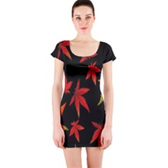 Colorful Autumn Leaves On Black Background Short Sleeve Bodycon Dress by Amaryn4rt