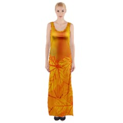 Bright Yellow Autumn Leaves Maxi Thigh Split Dress