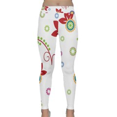 Colorful Floral Wallpaper Background Pattern Classic Yoga Leggings by Amaryn4rt