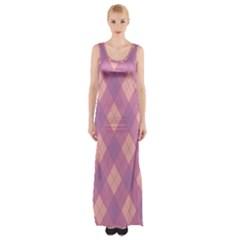 Plaid Pattern Maxi Thigh Split Dress by Valentinaart
