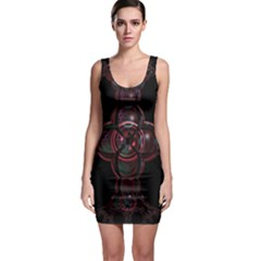 Fractal Red Cross On Black Background Sleeveless Bodycon Dress