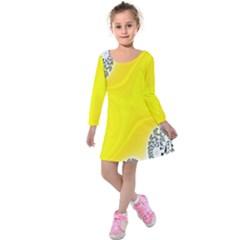 Fractal Abstract Background Kids  Long Sleeve Velvet Dress by Amaryn4rt