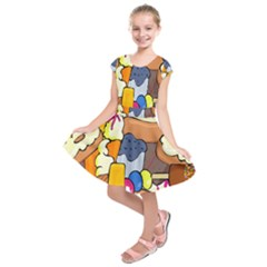 Sweet Stuff Digitally Created Sweet Food Wallpaper Kids  Short Sleeve Dress by Amaryn4rt