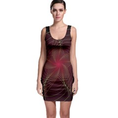 Fractal Red Star Isolated On Black Background Sleeveless Bodycon Dress