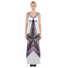 Star Abstract Geometric Art Maxi Thigh Split Dress