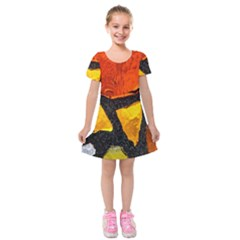 Colorful Glass Mosaic Art And Abstract Wall Background Kids  Short Sleeve Velvet Dress by Amaryn4rt
