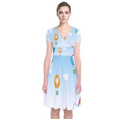 Landscape Sky Rainbow Garden Short Sleeve Front Wrap Dress by Amaryn4rt