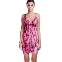 An Unusual Background Photo Of Black Swirls On Pink And Magenta Sleeveless Bodycon Dress