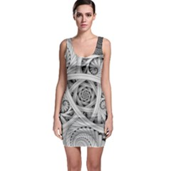 Fractal Wallpaper Black N White Chaos Sleeveless Bodycon Dress