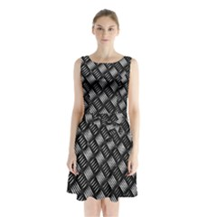 Abstract Of Metal Plate With Lines Sleeveless Chiffon Waist Tie Dress by Amaryn4rt