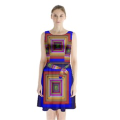 Square Abstract Geometric Art Sleeveless Chiffon Waist Tie Dress by Amaryn4rt