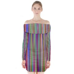 Striped Stripes Abstract Geometric Long Sleeve Off Shoulder Dress by Amaryn4rt
