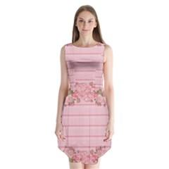 Pink Peony Outline Romantic Sleeveless Chiffon Dress   by Simbadda