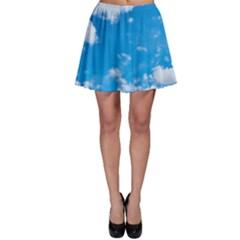 Sky Blue Clouds Nature Amazing Skater Skirt by Simbadda